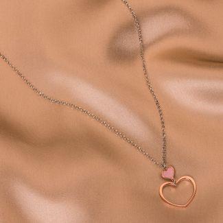 Colier argint 2 Hearts pink