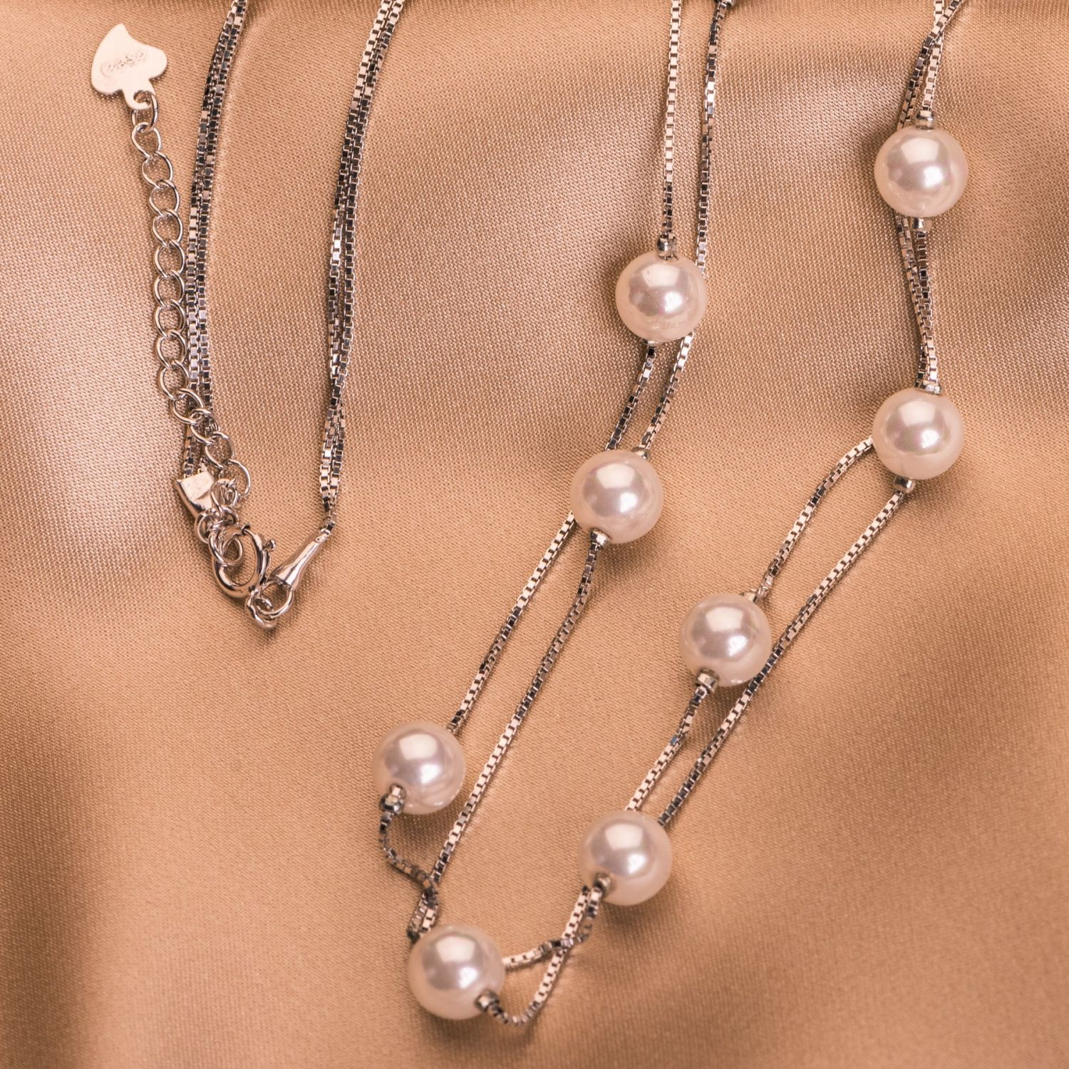 Sterling Silver Necklace Delicate 10 Pearls