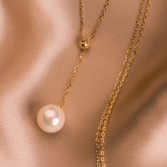 Sterling Silver Necklace Pearl Touch gold