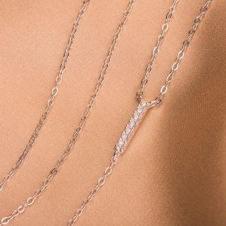 Sterling Silver Necklace Minimal zirconia