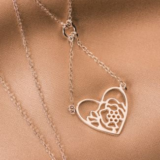 Sterling Silver Necklace Heart& Flower