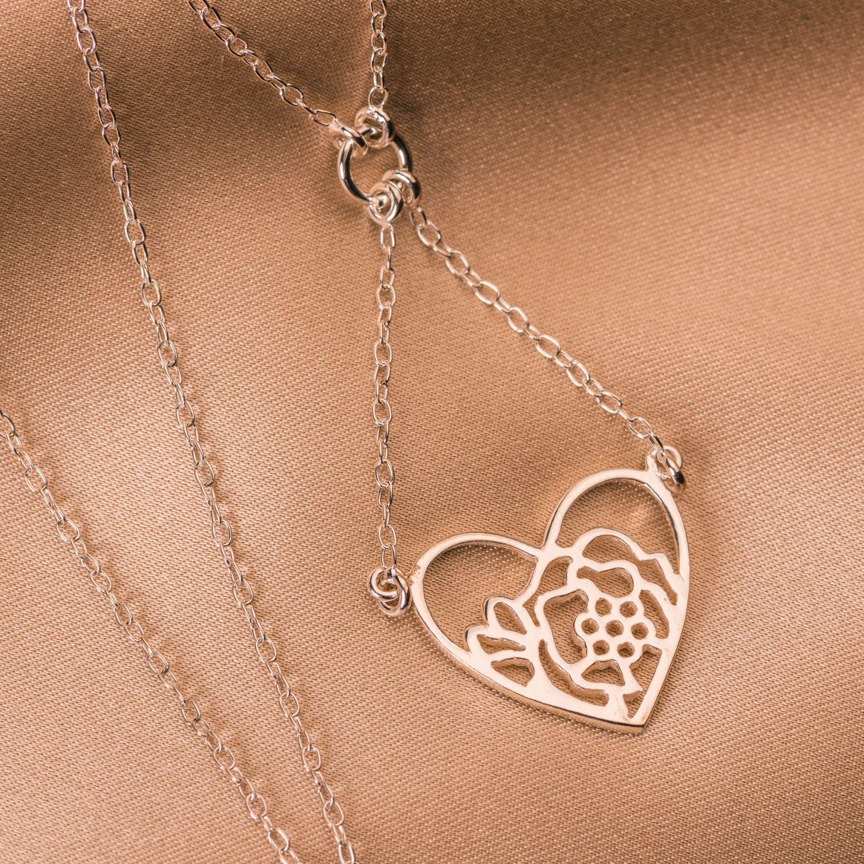 Sterling Silver Necklace Heart& Flower