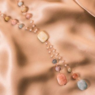 Colier argint cu morganite si perle
