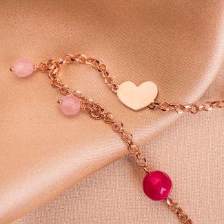 Sterling Silver Bracelet Falling in Love pink