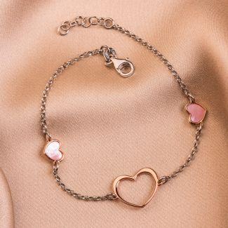 Sterling Silver Bracelet 2 Hearts pink
