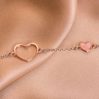 Bratara argint 2 Hearts pink