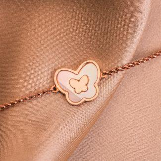 Sterling Silver Bracelet Minimal Butterflies rose