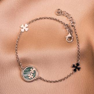 Sterling Silver Bracelet Lucky Clovers