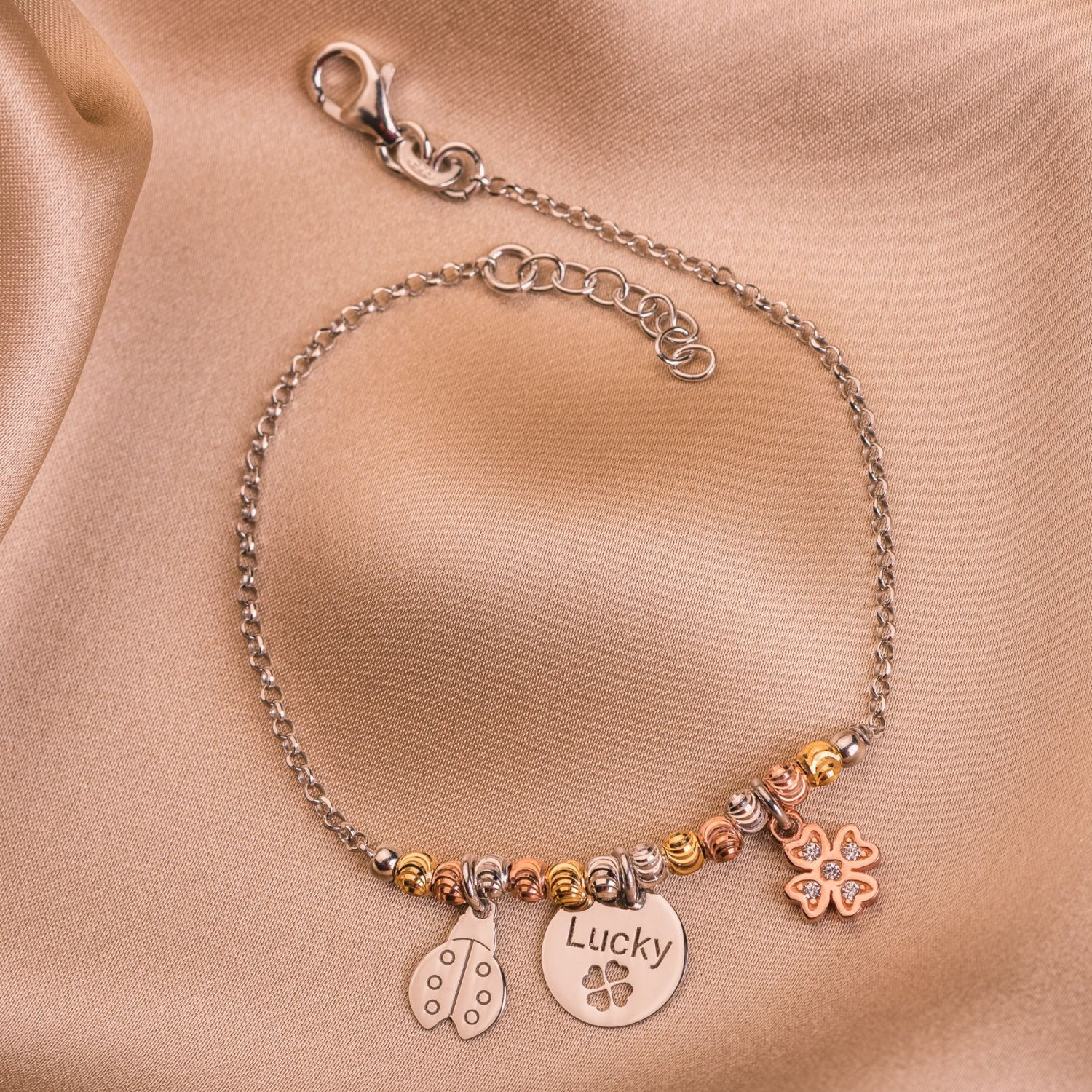 Sterling Silver Bracelet Lucky Charms