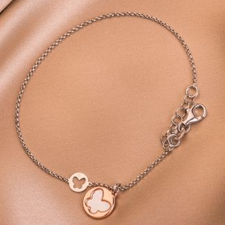 Sterling Silver Bracelet Minimal Butterfly white
