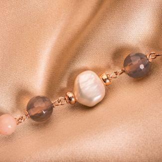 Bratara argint cu agate nude Uruguay si perle