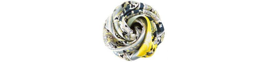 Esarfe din matase naturala si accesorii pentru par cu imprimeu paisley gri galben