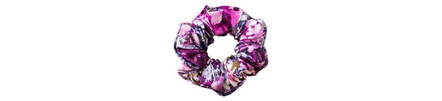 Acesorii din matase naturala cu imprimeu floral si dantelat