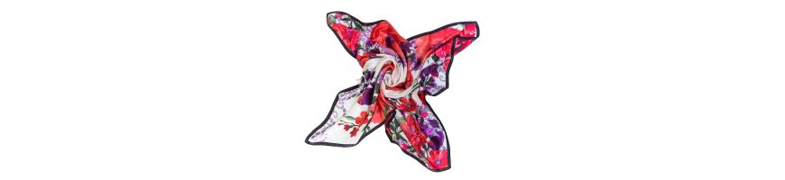 Silk scarves with prints of flowers fall